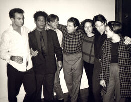 Andy Warhol, Andy Warhol, Photograph of Jean-Michel Basquiat, Bryan Ferry, Julian Schnabel, Jacqueline Beaurang, Paige Powell, and Others at a Party at Julian Schnabel's Apartment, 1985