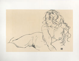 Egon Schiele, Reclining Nude with Raised Torso