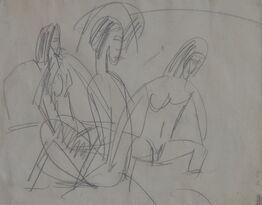 Ernst Ludwig Kirchner, Drei Badende an Steinen, Fehmarn (Three bathers at rocks, Fehmarn)