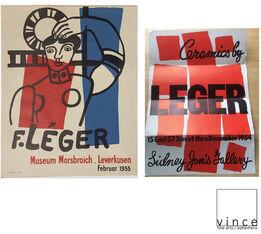 "Fernand Léger, 2-PIECE POSTER/INVITE SET: ""Ceramics"" 1954 Sidney Janis Gallery & ""F.Leger"" 1955 Museum Morsbroich-Leverkusen"
