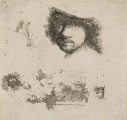 Rembrandt van Rijn, Sheet of Studies: Head of Rembrandt, Beggar Couple, Heads of Old Man and Old Woman, etc.
