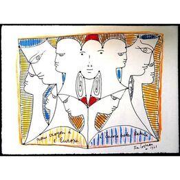 """Jean Cocteau, Original Lithograph """"European Diversity"""" by Jean Cocteau"""