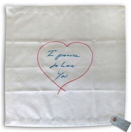 Tracey Emin, I Promise To Love You - embroidered napkin