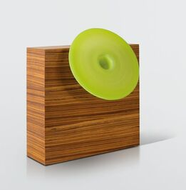 Ettore Sottsass, a vase with a wood and glass structure