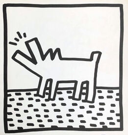 Keith Haring, Keith Haring (untitled) Barking Dog lithograph 1982