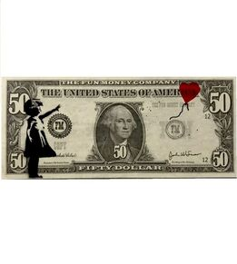 "Banksy, "" Girl with balloon "" Bank note"