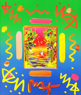 Peter Max, BETTER WORLD COLLAGE I (OVERPAINT)
