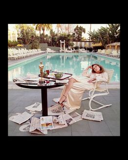 Terry O'Neill, Faye Dunaway , The Beverly Hills Hilton, Los Angeles,The Morning after her Network Oscar