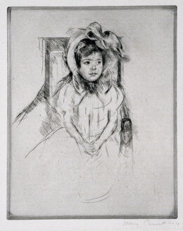 Mary Cassatt, Margot Wearing a Large Bonnet, Seated in an Armchair.