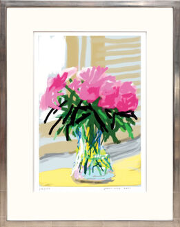 David Hockney, My Window with iPhone drawing No. 535, 28th June 2009 [Vase of Pinks] ink-jet print.