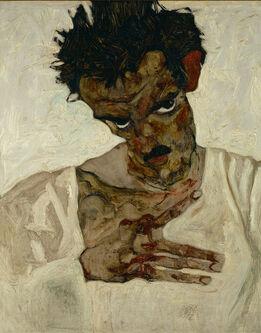 Egon Schiele, Self-Portrait with Bent Head (Study for Eremiten/Hermits)
