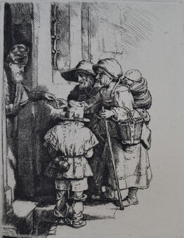 Rembrandt van Rijn, Beggars Receiving Alms at the Door of a House