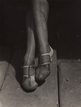Dorothea Lange, A Sign of the Times–Mended Stockings, Stenographer, San Francisco