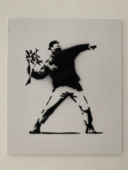 "Banksy, BANKSY DISMALAND ""FLOWER THROWER"" WITH COA"