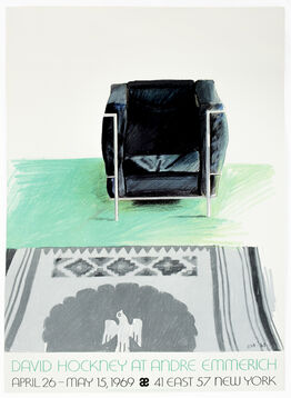 David Hockney, Andre Emmerich Gallery 1969 (Corbusier Chair and Rug 1969) vintage poster