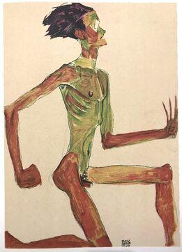 Egon Schiele, Kneeling Male Nude Profile