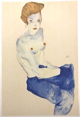 Egon Schiele, Seated Girl with Bare Torso and Light Blue Skirt