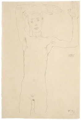 Egon Schiele, Standing Male Nude with Raised Arms (Self-Portrait)