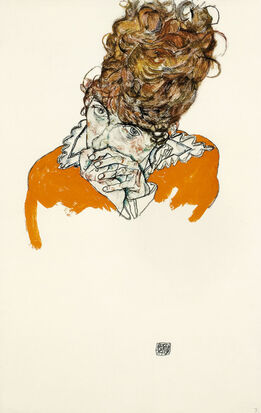 Egon Schiele, Portrait of the artists sister in law, with hands in front of her mouth