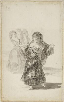 Francisco de Goya, Two Majas Embracing (recto); Maja Parading before Three others (verso)
