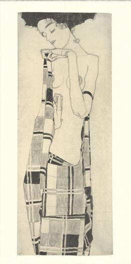 Egon Schiele, Gerti Schiele in a Plaid Dress