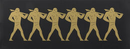 Cleon Peterson, The Marchers (gold on black)