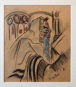 Hugó Scheiber, 'Rare Modernist Hungarian Rabbi Pastel Drawing Gouache Painting Judaica Art Deco', Early 20th Century