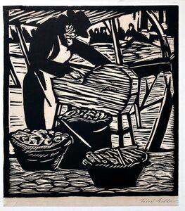 Todros Geller, 'Jewish Market Peddler Judaica Woodblock Woodcut Print Chicago 1930s WPA Artist', Early 20th Century