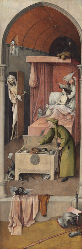 Hieronymus Bosch, 'Death and the Miser', ca. 1485/1490, Painting, Oil on panel, National Gallery of Art, Washington, D.C.