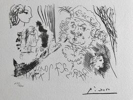 Pablo Picasso, 'Feuille d'études, profil de Marie-Thérèse et tête de Rembrandt au berêt (Suite Vollard Planche XXXIII)', 1973