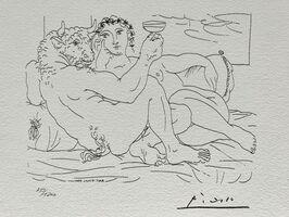 Pablo Picasso, 'Minotaure une coupe à la main et jeune femme (Suite Vollard Planche LXXXIII)', 1973