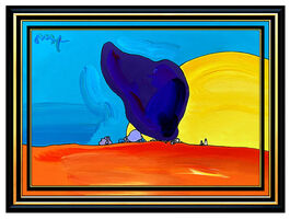 Peter Max, 'PETER MAX Acrylic Painting ORIGINAL ROCKS and SUN Signed POP ART LARGE Authentic', 21st Century