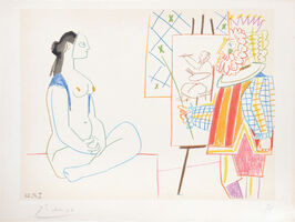 Pablo Picasso, '(Artist with Self Portrait and Model I.) Untitled from Suite de 15 dessins de Picasso. ', 1954