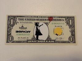 "Banksy, 'BANKSY DISMALAND US DOLLAR ""BALLOON GIRL"", DISMAL DOLLAR', 2015"