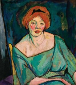 Bror Julius Olsson Nordfeldt, 'Portrait of a Woman with Red Hair (Woman with Orange Hair)', circa 1916