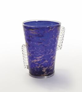 Fratelli Toso, 'A blue bubble and aventurine glass vase with side crystal applications', circa 1930