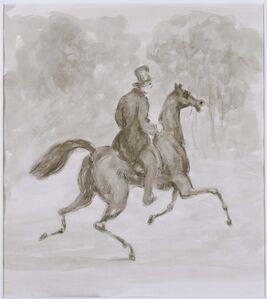 Constantin Guys, 'Man on Trotting Horse'