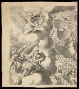 Pieter de Jode I, 'Iudic˜ uniuersalis paradigma Sacrae Scripturae testimonijs confirmatum : detail of Heaven', 1726-1738