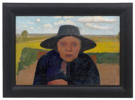 Paula Modersohn-Becker, 'Brustbild einer alten Bäuerin mit Hut vor Landschaft', 1901