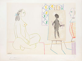 Pablo Picasso, '(Artist with Self Portrait and Model II.) Untitled from Suite de 15 dessins de Picasso. ', 1954