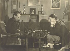 Man Ray, '[Marcel Duchamp and Raoul de Roussy de Sales Playing Chess]', 1925