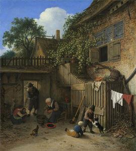 Adriaen van Ostade, 'The Cottage Dooryard', 1673