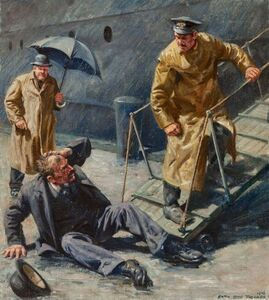 Anton Otto Fischer, 'Booted Off Ship', 1946