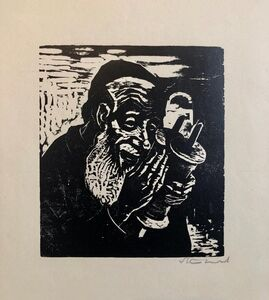 Jacob Steinhardt, 'Jewish Rabbi with Torah German Expressionist Woodcut Israeli Early Bezalel', 20th Century