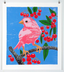Ann Craven, 'Pink Bird with Cherries (Blue)', 2011