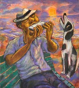 Luis Castellanos Valui, 'Harmonica, Man & Dog'