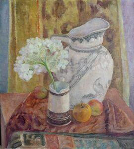 Helene Halstuch, 'Still Life With Hydrangeas and Fruit'