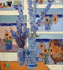 Joseph Plaskett, 'Delphinium With Paintings 2'