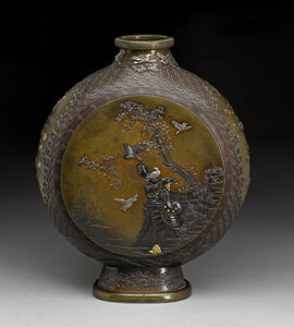 Miyabe Atsuyoshi, 'Moonflask with Birds and Flowers', Meiji period (1868-1912)