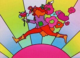 Peter Max, 'Flower Jumper over Sunrise II', 2001